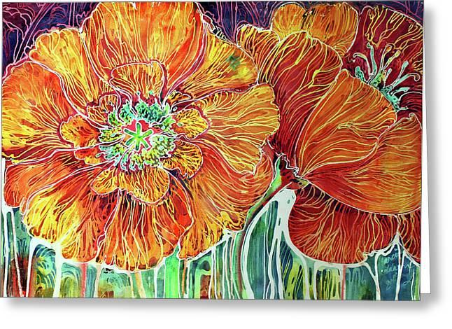 Poppies Batik Abstract Greeting Card by Marcia Baldwin
