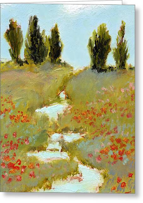 Poppies By A Stream Greeting Card