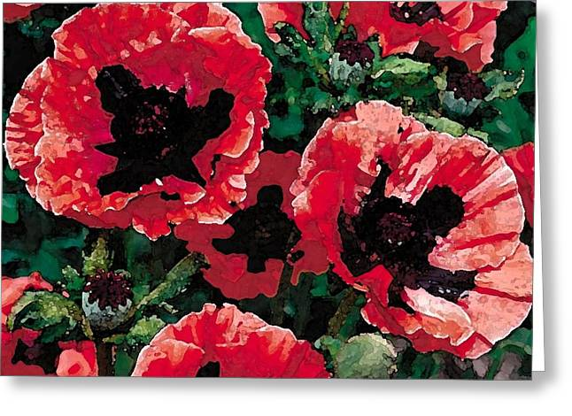 Poppies Greeting Card by Cole Black