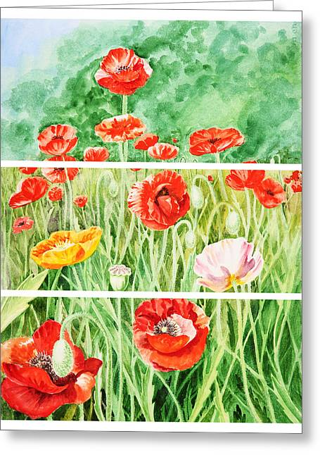 Poppies Collage II Greeting Card by Irina Sztukowski