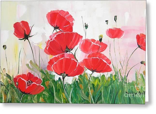Poppies Greeting Card by Denisa Laura Doltu