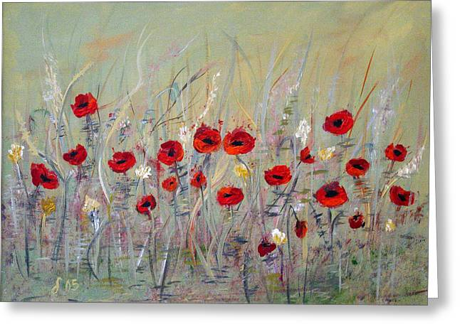 Greeting Card featuring the painting Poppies by Dorothy Maier