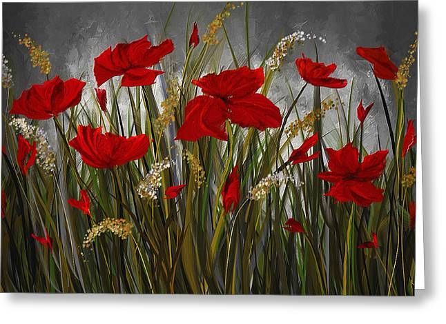 Poppies Galore - Poppies At Night Painting Greeting Card by Lourry Legarde