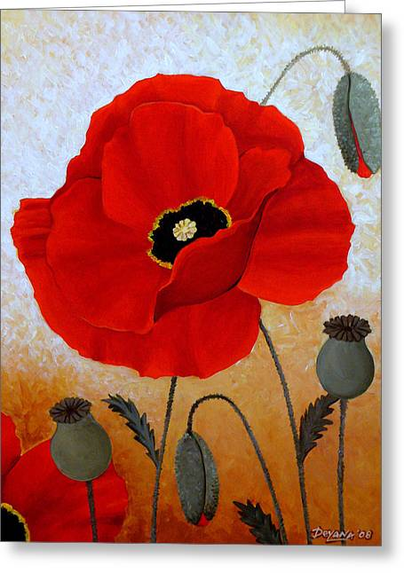 Poppies I Greeting Card by Deyana Deco