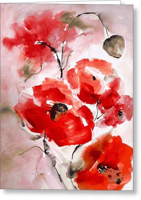 Poppies I Greeting Card by Hedwig Pen