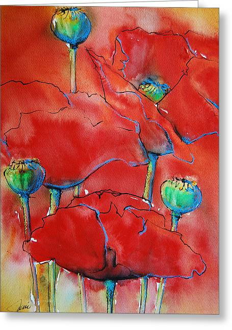 Poppies II Greeting Card by Jani Freimann