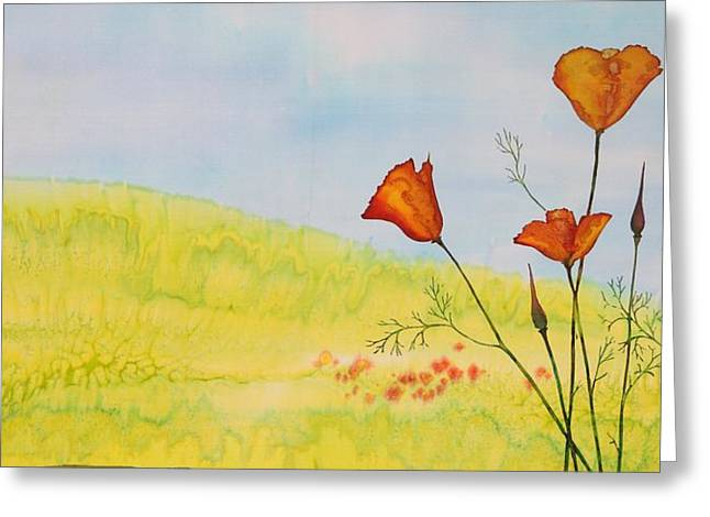Poppies In A Field Greeting Card by Carolyn Doe