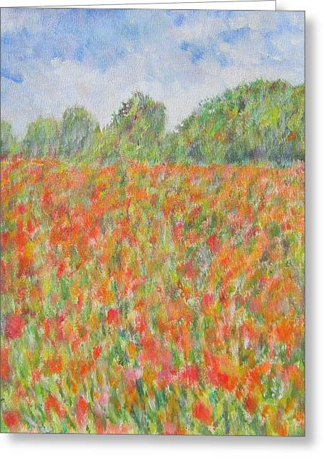 Poppies In A Field In Afghanistan Greeting Card