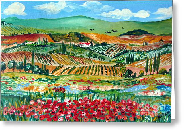 Poppies In Chianti Tuscany Greeting Card