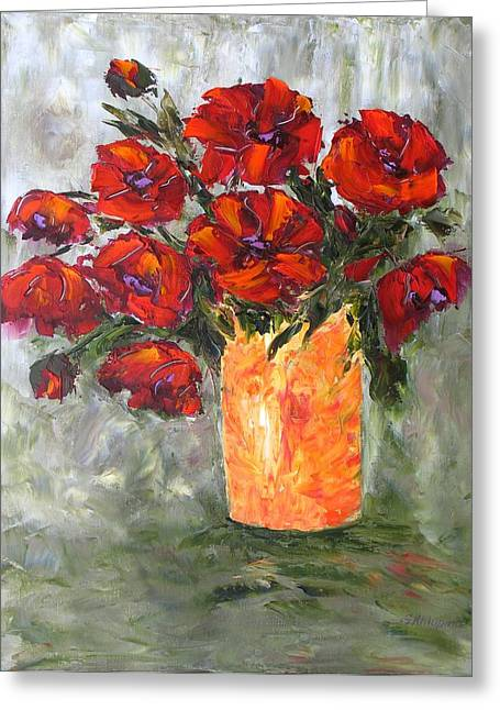 Poppies In Orange Vase Greeting Card