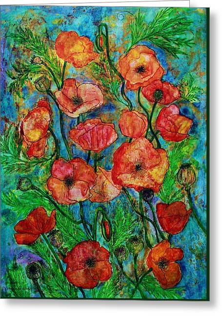Poppies In Storm Greeting Card