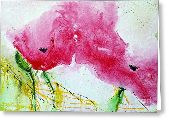 Poppies In Summer - Flower Painting Greeting Card by Ismeta Gruenwald
