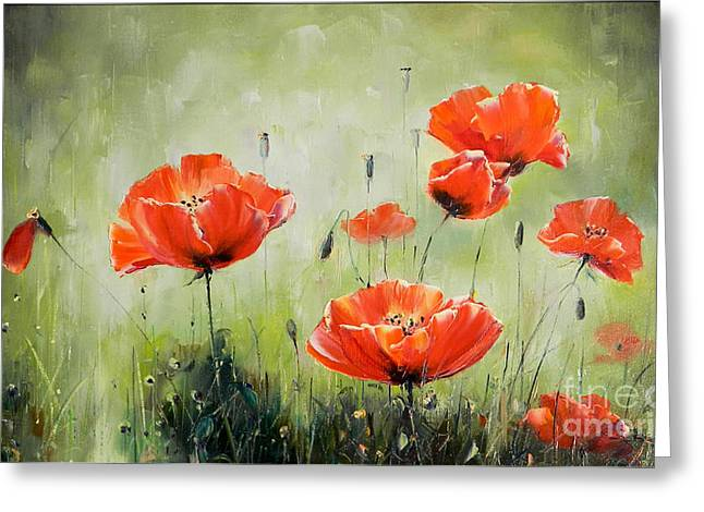Poppies In Sunset Greeting Card by Petrica Sincu