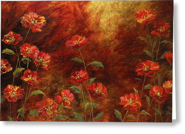 Greeting Card featuring the painting Poppies In The Garden by Vic  Mastis