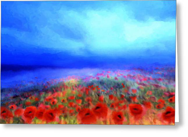 Poppies In The Mist Greeting Card by Valerie Anne Kelly