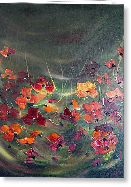 Greeting Card featuring the painting Poppies In The Shadow by Dorothy Maier