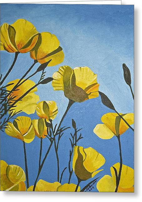 Poppies In The Sun Greeting Card by Donna Blossom
