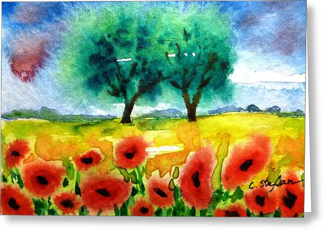 Poppies In Tuscany Greeting Card
