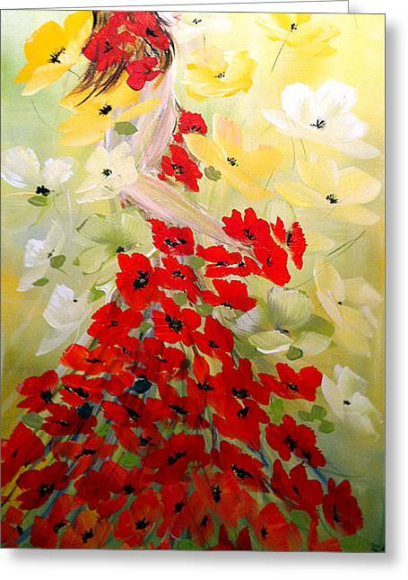 Greeting Card featuring the painting Poppies Lady by Dorothy Maier