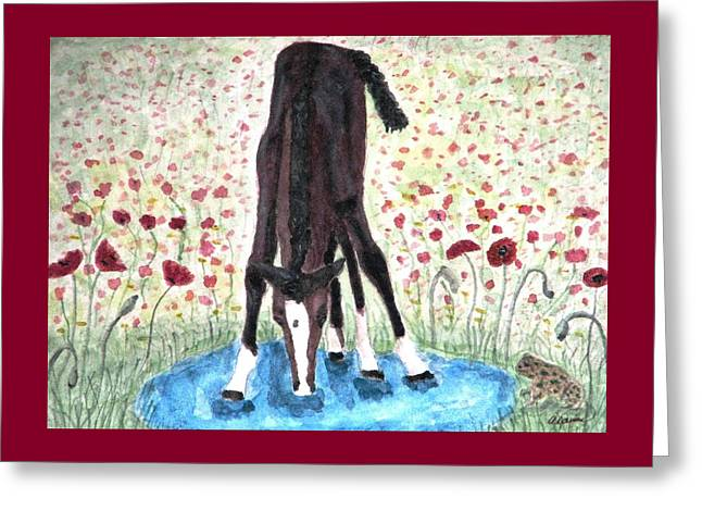 Greeting Card featuring the painting Poppies N  Puddles by Angela Davies