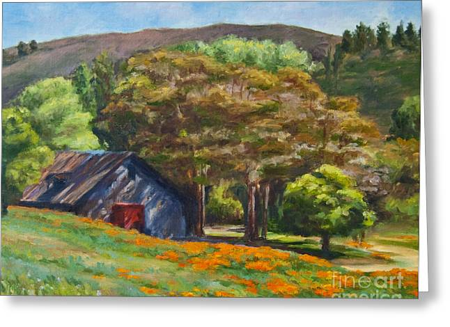 Poppies Near The Barn Greeting Card by Laura Sapko