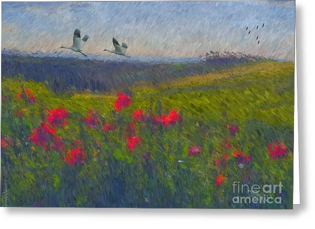 Greeting Card featuring the digital art Poppies Of Tuscany by Lianne Schneider