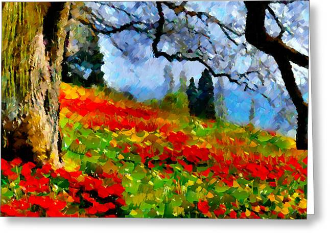 Poppies On A Hill Greeting Card by Georgiana Romanovna