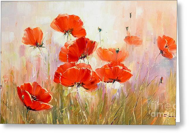 Poppies On Field Greeting Card by Petrica Sincu