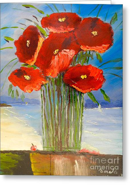 Greeting Card featuring the painting Poppies On The Window Ledge by Pamela  Meredith