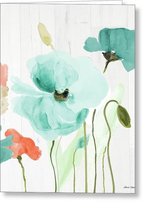 Poppies On Wood I Greeting Card by Lanie Loreth
