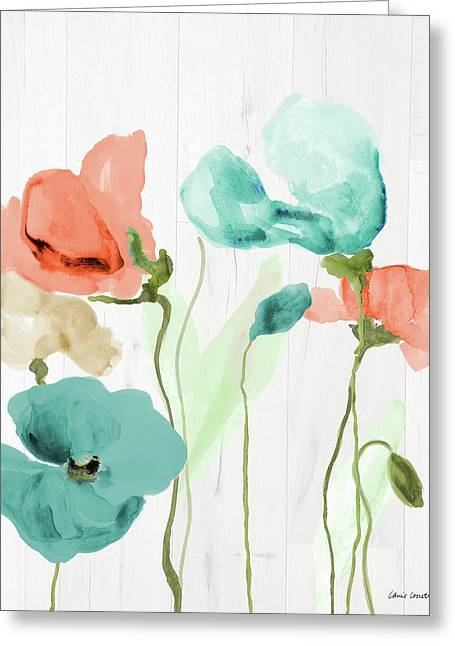 Poppies On Wood II Greeting Card by Lanie Loreth