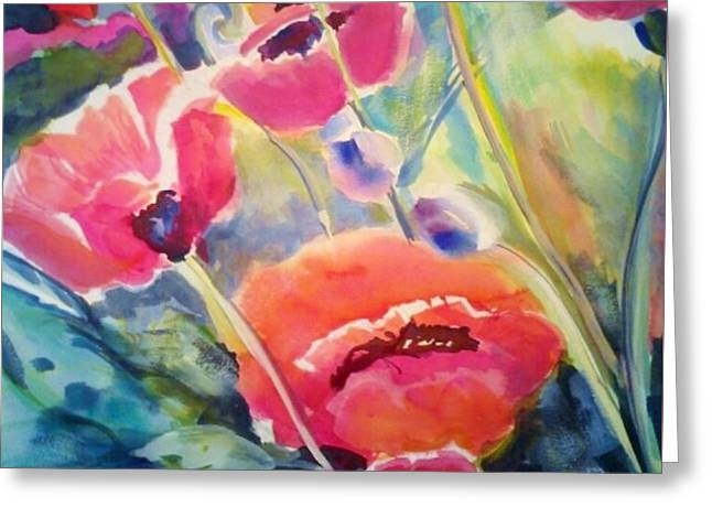Poppies That Dance Original  Greeting Card by Therese Fowler-Bailey