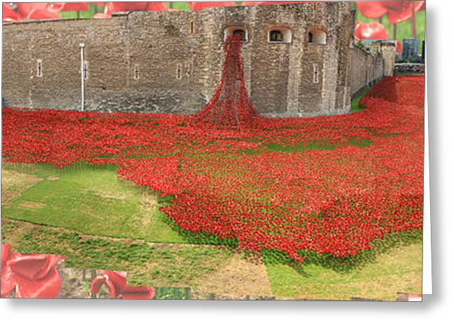 Poppies Tower Of London Collage Greeting Card