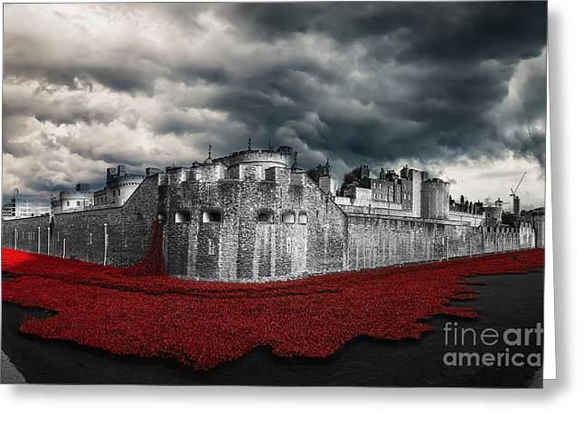 Poppies Tower Of London Greeting Card