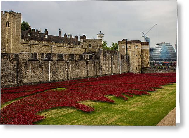 Poppies Tower Of London Greeting Card by Martin Newman
