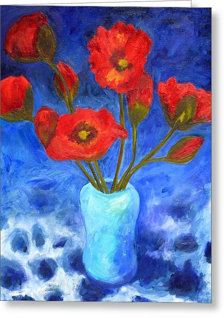 Poppies Greeting Card by Valerie Lynch