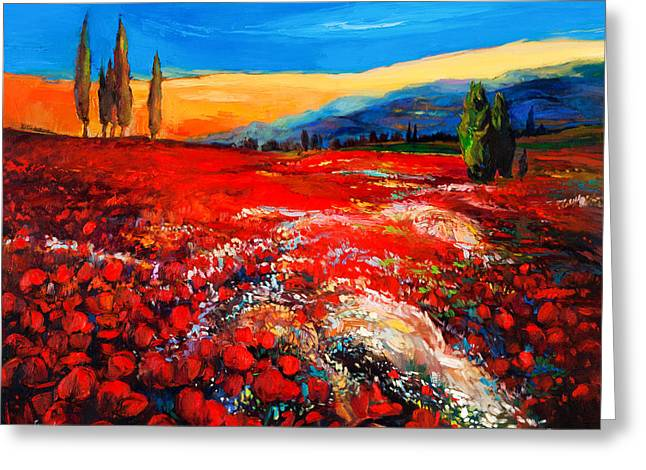 Poppies'field Greeting Card by Ivailo Nikolov