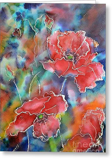 Poppy Abstract Greeting Card by Kathleen Pio