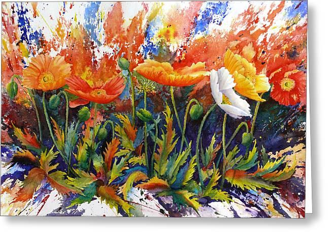 Greeting Card featuring the painting Poppy Blast by Karen Mattson
