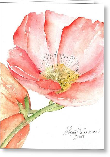Wild Orchards Paintings Greeting Cards - Poppy Bloom Greeting Card by Sherry Harradence