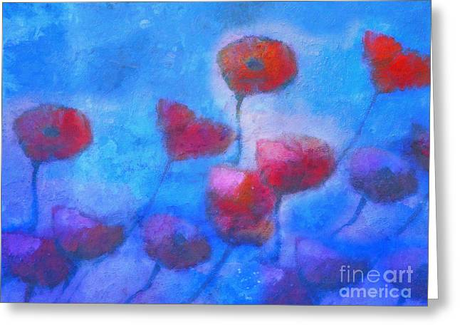 Poppy Blues Greeting Card by Lutz Baar