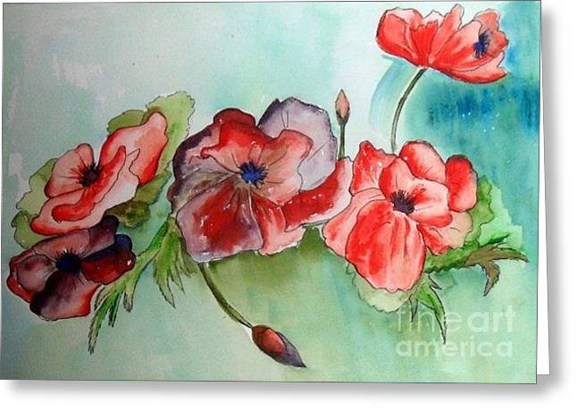 Poppy Bouquet Greeting Card by Iris Gelbart