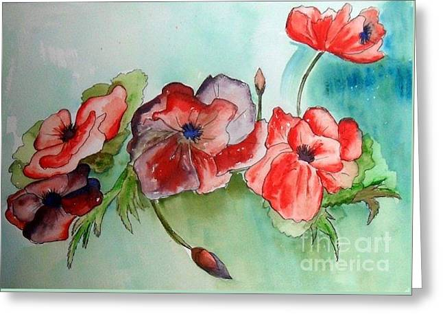 Poppy Bouquet Greeting Card