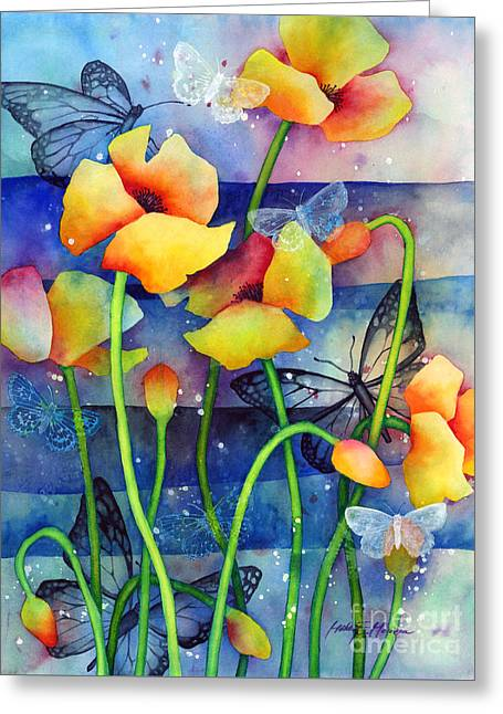 Poppy Field Greeting Card by Hailey E Herrera