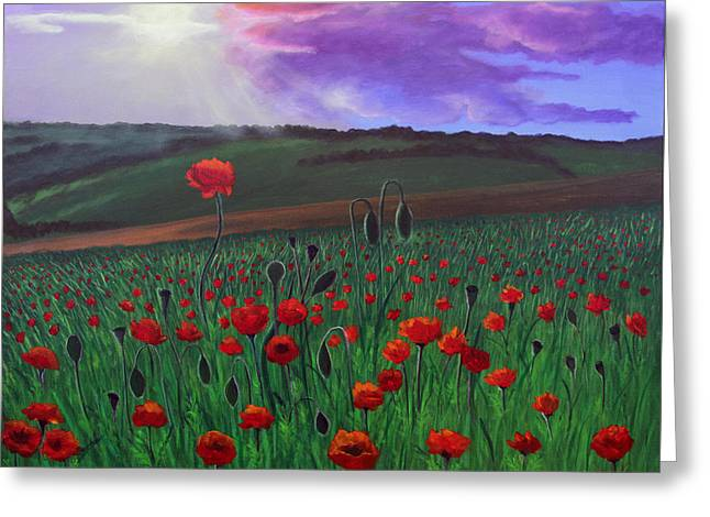 Greeting Card featuring the painting Poppy Field by Janet Greer Sammons
