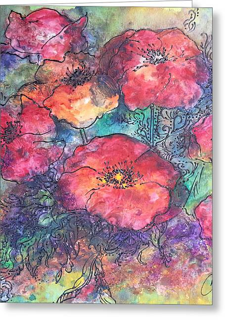 Greeting Card featuring the painting Poppy Flower Splash Of Spring by Christy  Freeman