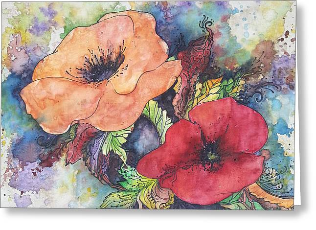 Greeting Card featuring the painting Poppy Flowers Orange And Red by Christy  Freeman