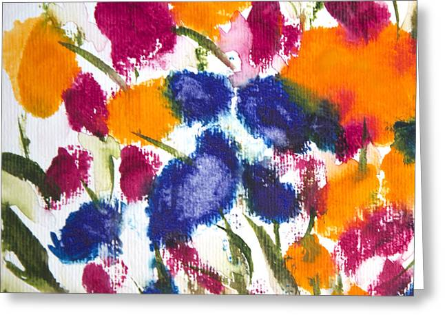 Greeting Card featuring the painting Poppy Garden by Linde Townsend