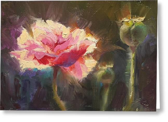 Poppy Glow Greeting Card by Karen Whitworth
