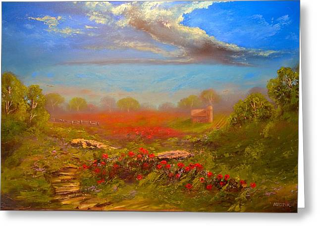 Poppy Morning Greeting Card by Michael Mrozik